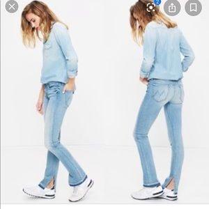 Mother Rascal Slit Undone Hem Light Wash Jeans